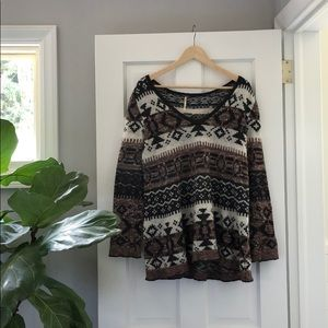 Free People \\ brown and white sweater w/ stripes